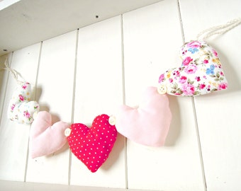 Heart Garland Pretty Florals Pink And Polka Dots