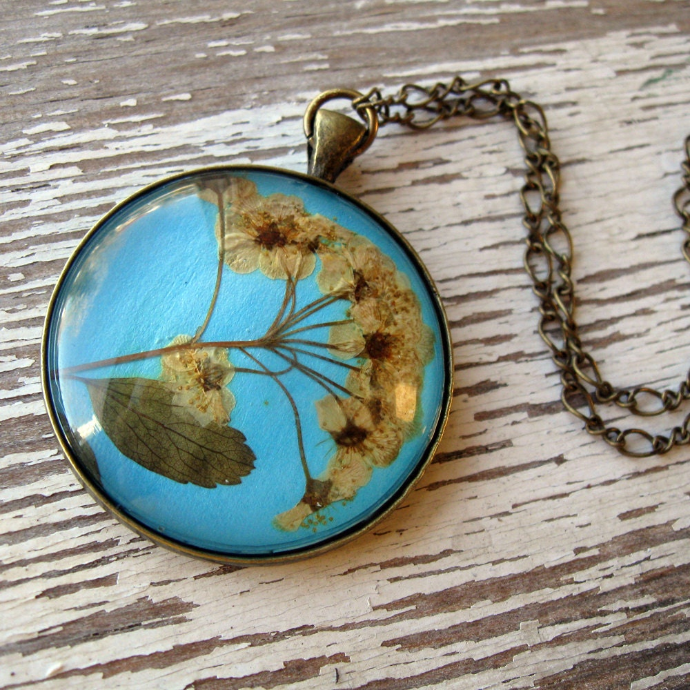 Real pressed flower necklace antique inspired blue and for Winter garden studios