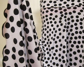 """Ladies' White & Black Polka Dot Print Stretch Polyester Spandex Jersey Knit Maxi Skirt for Missionary, Travel or Leisure,  S/M, 38"""" long '"""