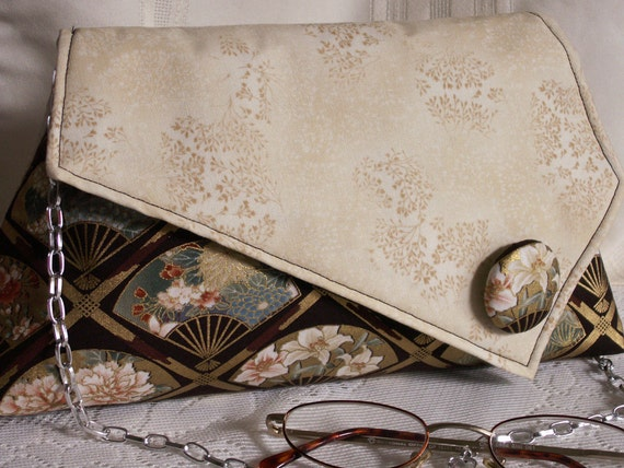 Handmade cotton shoulder bag, handbag. Brown, beige, green, pink, gold, cream. Fan Artisan Bag by Lella Rae on Etsy