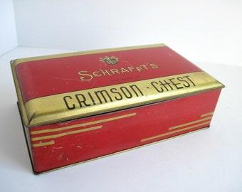 Schrafft's Art Deco Tin,  Crimson Chest, Antique, Vintage