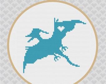 40% OFF code: CYBERMONDAY40- Perodactyl Silhouette Cross Stitch PDF Pattern