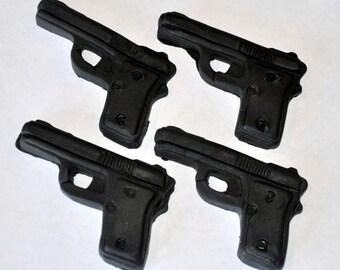 Hand Gun Fondant Toppers for Cupcakes, Cake or Cookies- Edible- 1 DOZEN