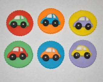 Car Fondant Cupcake or Cookie Toppers- Edible- Color  Customizable- 1 Dozen