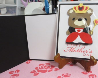 Happy Mother's Day queen teddy bear greeting card