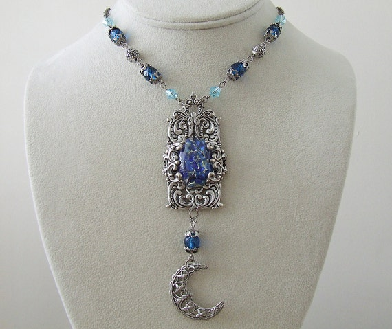 The Sea Priestess - Vintage Silver & Harlequin Crescent Moon Necklace