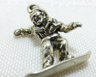 SNOW BOARDER sterling silver  Charm or Pendant