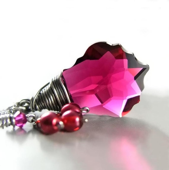 Pink Ruby Necklace Sterling Silver Wire Wrapped Swarovski Dark Pink Crystal Necklace Fuchsia Raspberry Cranberry Pink Pendant Necklace