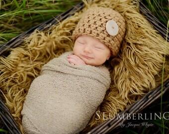 Toffee Tan Newborn Button Beanie Hat