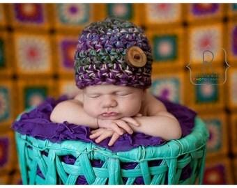 Newborn Beanie Hat Purple Green Beige Blue