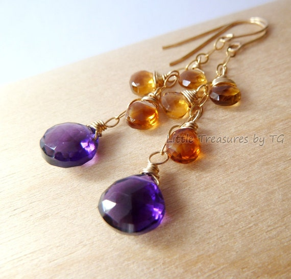 Purple Amethyst Madeira Citrine gold earrings Handmade  Elegant. Birthstone earrings. Amethyst Citrine earrings