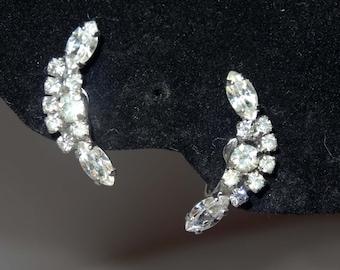 Rhinestone Moon shaped screw back earrings Apparel & Accessories Jewelry Vintage Jewelry Earrings Rhinestone