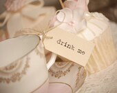 Drink Me Teacup Tags - cream and twine - set of 10