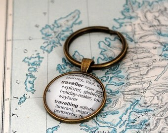Traveller Key Ring, Dictionary Words, Key Chain, Travel Keyring, World Travel, Graduation, Explorer, Globe Trotter