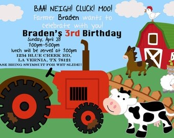 Farm Theme birthday invitation