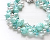Mint Wedding Bridesmaids Jewelry Pearl Cluster Bracelet - Pastel Light Minty Teal Blue Color for Spring Weddings