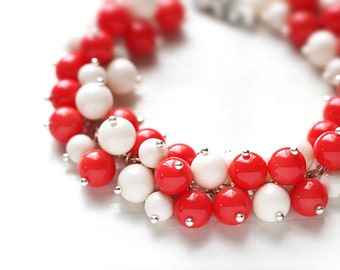 Coral Red and White Wedding Jewelry for Bridesmaids, Pearl Cluster Bracelet in Glossy Cherry Red and White Pearls - Corals, Christmas