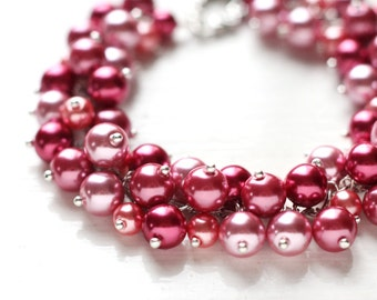 Red Wedding Bridesmaids Jewelry Pearl Cluster Bracelet - Rose Red, Pink Raspberry Red