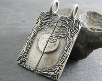 Personalized Pendants Set, Beneath The Moon, Artisan Handmade, Fine Silver Completing Pair