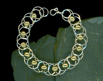 Chain Link Large Chain Bracelet Gold Beaded Big Circle Wire Chainmaille Link Sterling Silver Circles