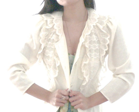 SALE Vintage White Lace Duster Jacket - One of a Kind Design