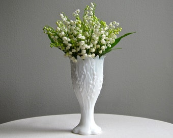 Vintage Lily of the Valley Milk Glass Vase by Westmoreland - White Lilies Vase 1960s