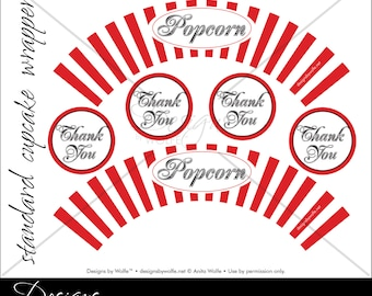 "Printable ""Popcorn"" Designer Cupcake Wrappers"