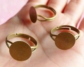 Blank Ring Base / Adjustable Ring Blank / Ring Blank Findings with 12mm Glue On Pad (10 pcs / Bronze) Jewellery Findings Ring Making F031