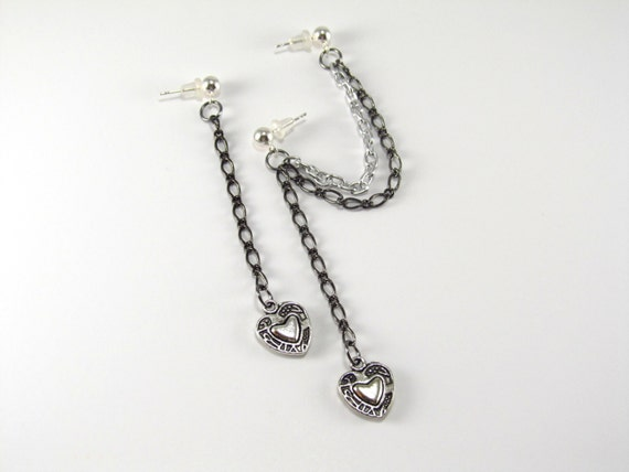 Cartilage Earring Double Piercing Heart and Chain