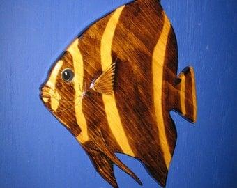Angelfish (Juvenile Grey) Wall Plaque, Wall Hanging, Grey Angelfish, Angelfish, Tropical