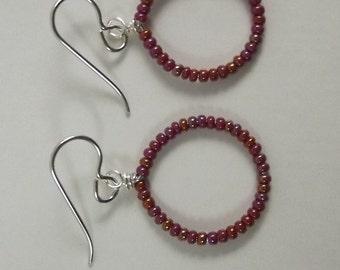 Iridescent Rusty Red Hoop Circle Earrings