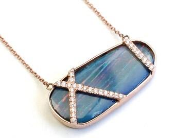 Opal Necklace, Opal Diamond Necklace, Blue Necklace, October Birthstone, Rose Gold Necklace, Australian Opal, Opal Rose Gold Necklace,Nixin