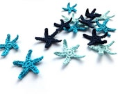 Crocheted sea stars applique, tiny blue sea stars - Beach wedding decorations, favors, blue stars embellishments, scrapbooking /set of 15/