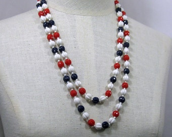 52 inch Red White and Blue  Round Fluted Bead Necklace 1960s NEW OLD STOCK cSc 300
