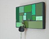Key Organizer in a Green Mosaic Pattern