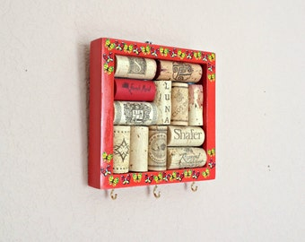 Wine Cork Board Key Hanger - Red Square by the Front Door