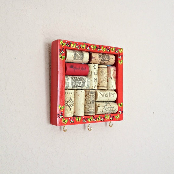 Key Hanger, Wine Cork Message Board - Red Square by the Front Door