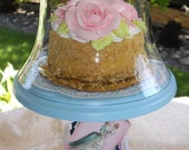 Marie Antoinette Aqua Turquoise French Cottage Chic Dessert Stand with Glass Bell Jar Cloche