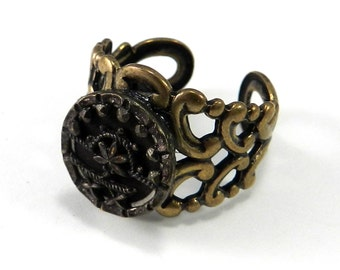 Victorian Jewelry, Antique Button Ring - Victorian Button Jewelry - Bronze Twinkle Button Adjustable - 1860-1920 - on brass