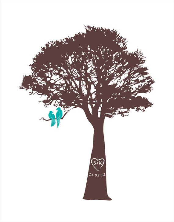Love Birds in a Tree Unique Wedding Anniversary Gift Custom Wedding Tree Print Personalized Engagement Gift Paper Anniversary Christmas gift