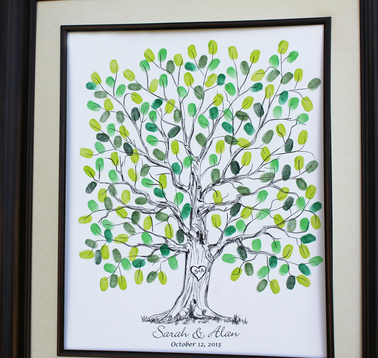 Personalized Thumbprint Tree Wedding Guest Book Alternative: Custom Wedding Alternative Of Wedding Guest Book Original