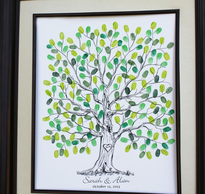 Guest Book Alternative Thumbprint Wedding Tree Fingerprint: Custom Wedding Alternative Of Wedding Guest Book Original