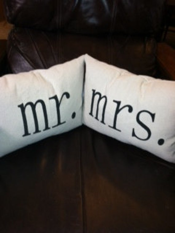 FREE SHIPPING - Pair of Mr. & Mrs. pillows - 2  12X16 cotton pillows - Perfect for a wedding or bridal shower gift