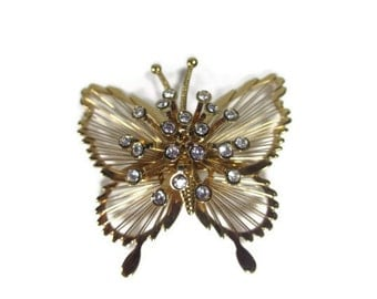 Monet Golden Butterfly with Clear Rhinestones