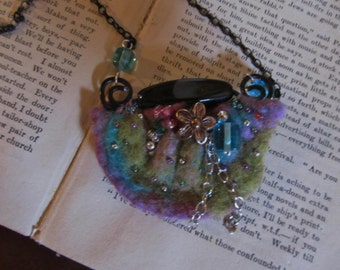 Nuno Felted Pendant Necklace....Beaded Bright Colors