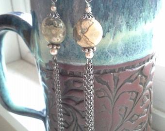 Jade Gemstone and Chain Dangle Earrings