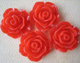 4PCS - Rose Cabochons - Glossy - 18mm - Red - Cabochons by ZARDENIA