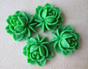 4PCS - Rose Flower Cabochons - Resin - Green - 17x18mm Cabochons by ZARDENIA
