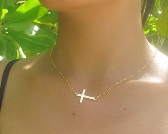 Horizontal Cross Necklace, Gold Sideways Cross Necklace, dainty side cross necklace, gift idea, mom gift, simple dainty delicate bridal