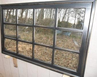 multipanel   window mantel  mirror  black distressed